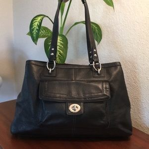🌹COACH Black Pebble Leather Shoulder Bag And Tote